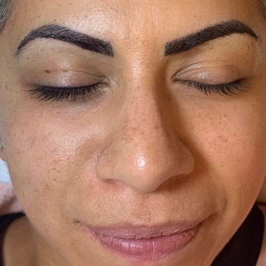 Here you will see the lash line enhancement done on the brow to your left vs. it not being done on the brow to your right. such a difference!