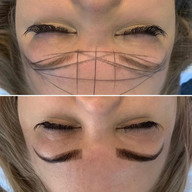 Mapped out brows and then after henna.