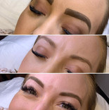 Top is clients makeup, middle is natural and bottom is microblading with shading.