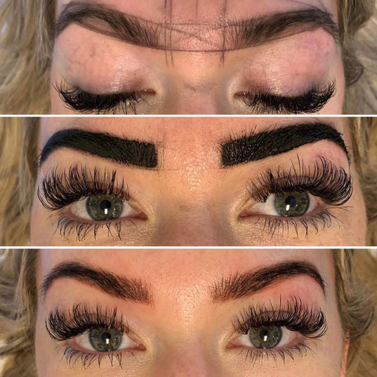 Mapped brows, henna applied and finished product.