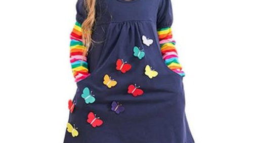 Long Sleeve Colorful Butterfly Dress