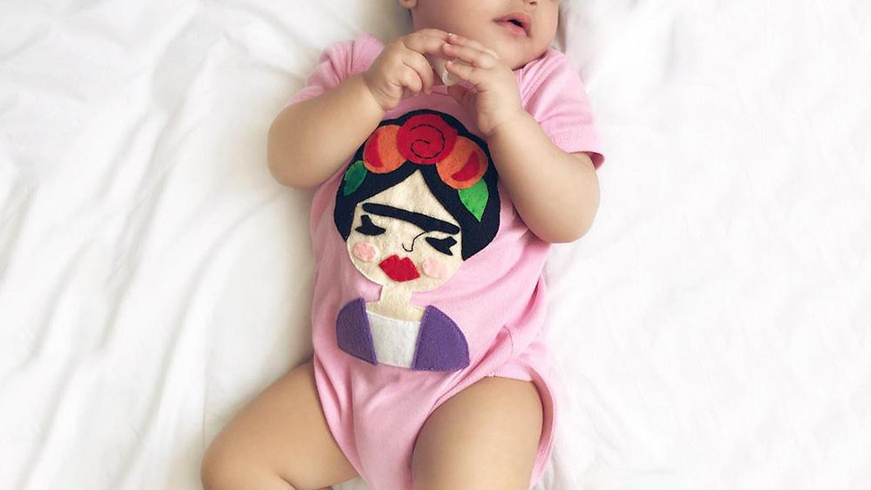 Frida Infant Bodysuit - Gray and Pink