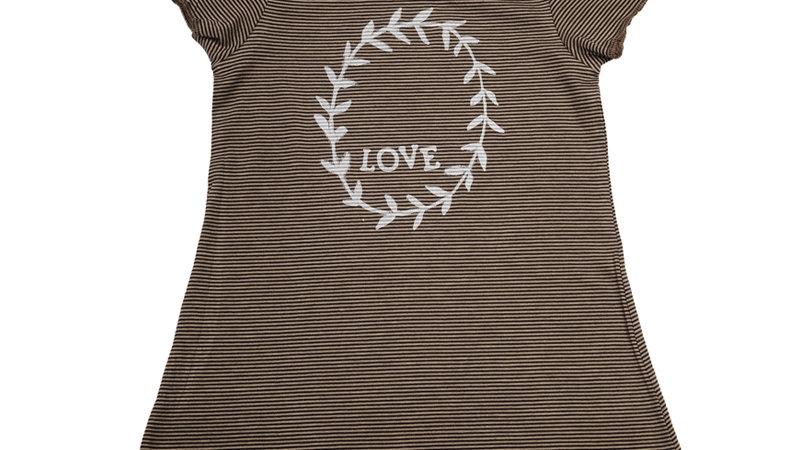 Love Garland Print Striped Dress