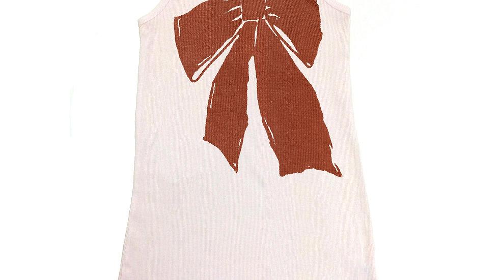 Ribbon Print Ruffled Rib Tank Dress