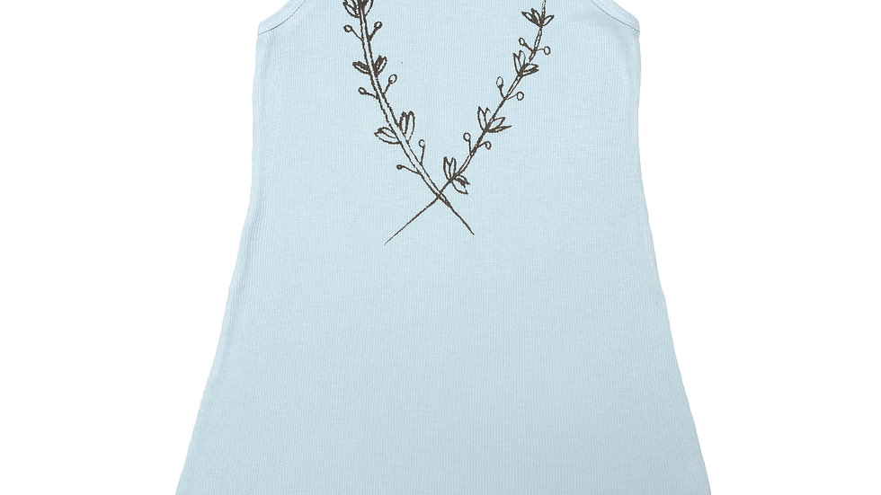 Plant Vine Ruffled Rib Tank Dress-