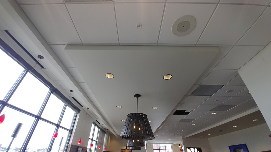 Interior painting at Chick Fil A in Grand Rapids, MI for Wolverine Building Group.