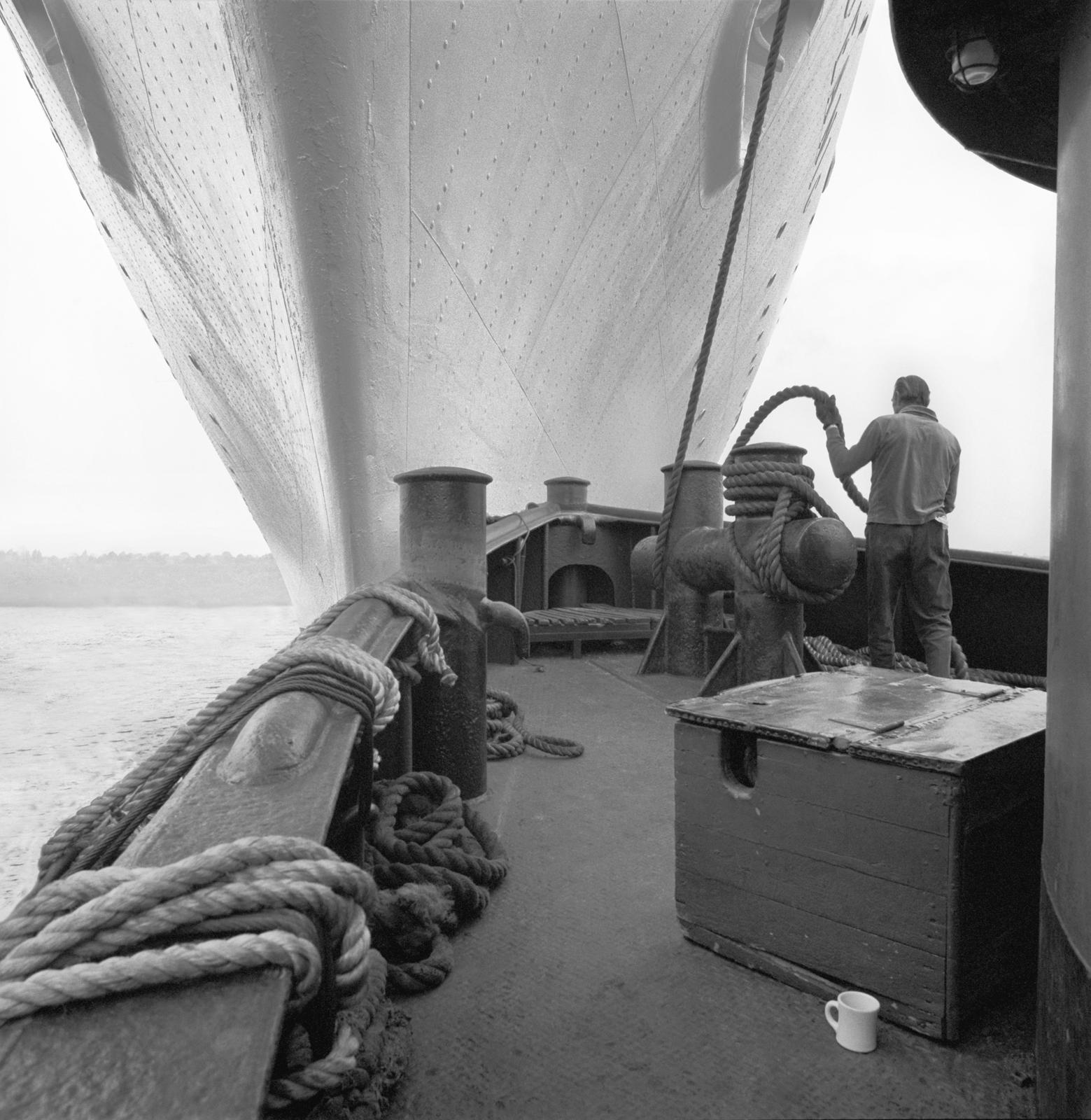 Ollie Woodcock, deckhand, tug Julia C. Moran, Hudson River, New York, New York, 1975