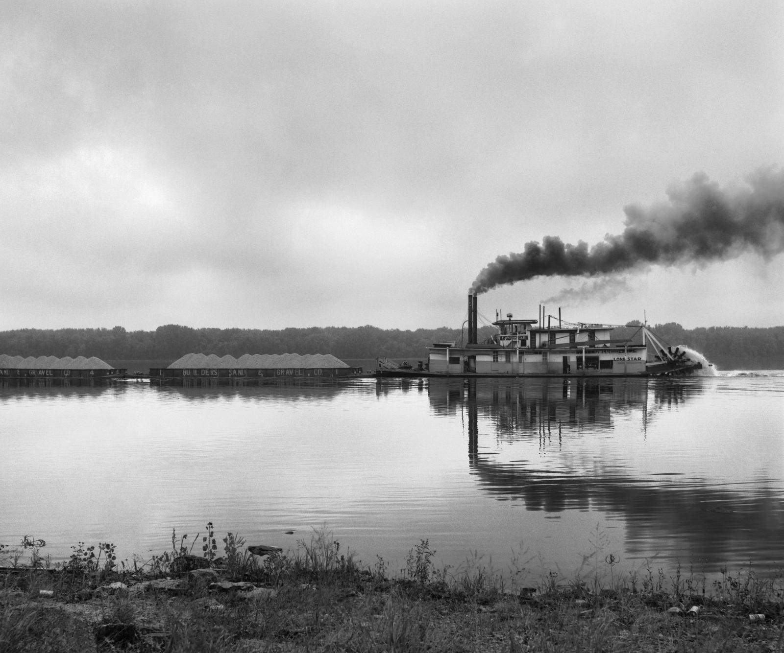 Steamer Lone Star on Mississippi River Below Davenport, Iowa, 1964