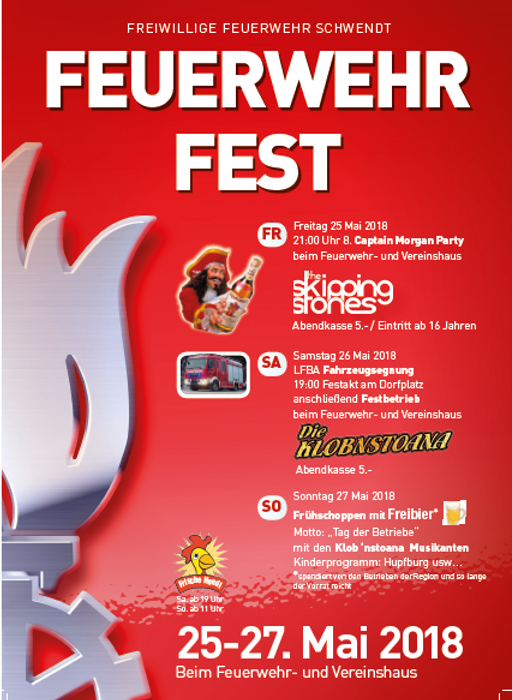 Einladung Feuerwehrfest Schwendt 2018