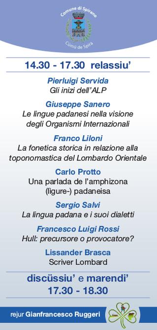 """""""Le lingue dell'anphizona padanese""""; 24th May @ Spirano (BG)"""