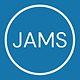 A white circle filled with blue and white text that says JAMS in the middle