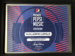 2015 Pepsi Music Award Certificate