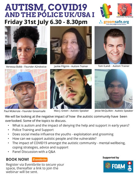 Max To Speak At A2ndVoice Autism, Covid19 And The Police UK/USA (Online Event)