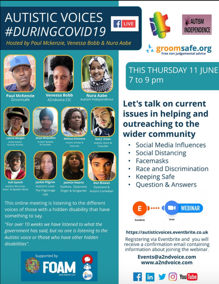 Max To Speak At A2NDVOICE Autistic Voices During COVID19 (Online Event)