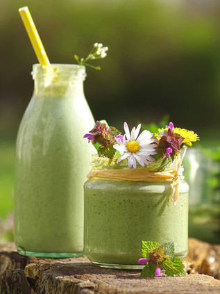 green smoothie with edible wild herbs.jp