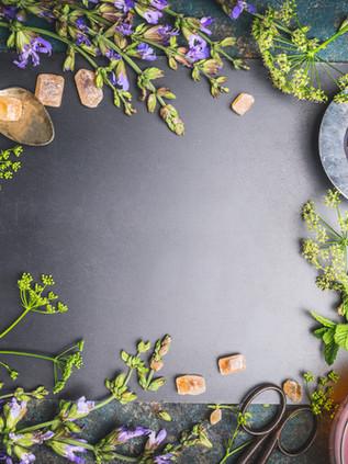 Herbal tea ingredients with various fres