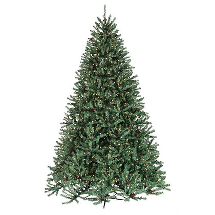 Johnson Pine  7.5' Permanent Christmas Tree w/Cones & Berries (1,550 Staylit CL)