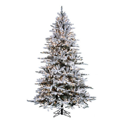 Mountain Pine Flock 9' Permanent Christmas Tree (1,300 Staylit CL)