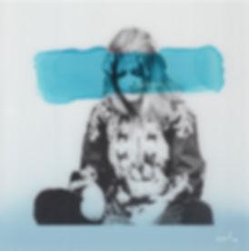 Emile Stoclin alias Emil. Artiste, peintre, plasticien. Pochoir, sérigraphie. Acrylique sur verre. 2013.