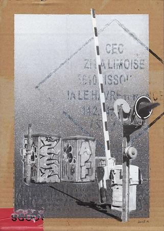 Emile Stoclin alias Emil. Artiste, peintre, plasticien. Pochoir, sérigraphie. Acrylique sur carton. 2015.