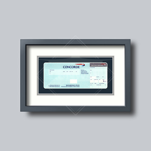 British Airways - Concorde - Framed Boarding Card - Design No.4