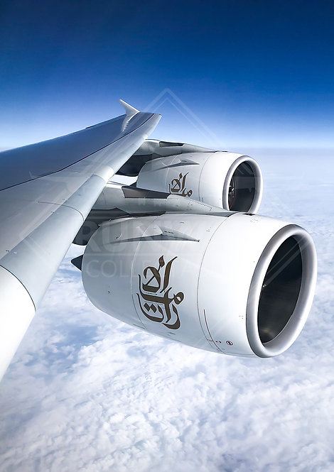 Emirates - Airbus A380 Wing View - Print