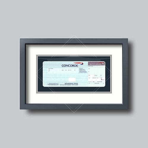 British Airways - Concorde - Framed Boarding Card - Design No.1