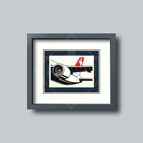SWISS - 777 (Engine) - Framed Postcard