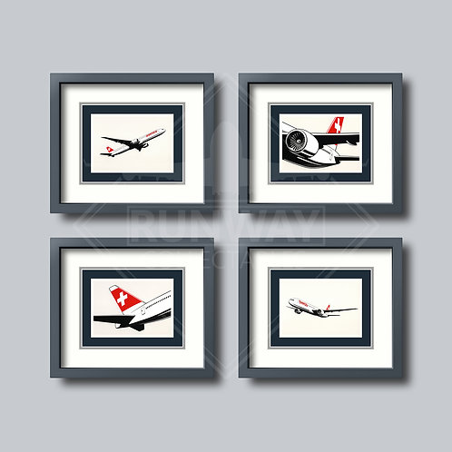 SWISS - 777 - Complete Set - 4 Framed Postcards