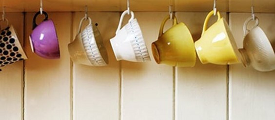 Cup hooks are sturdy, and have little catches that prevent the cup from falling off.