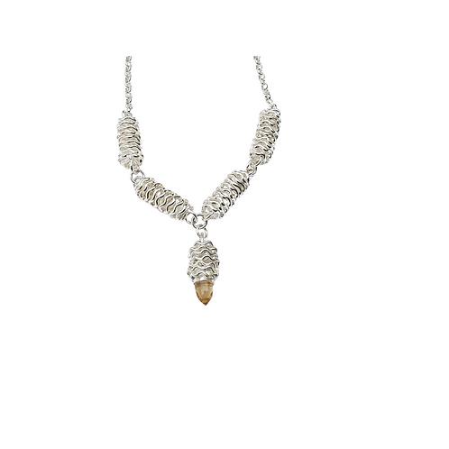 Foil Brunch Sterling Silver Bullet Necklace