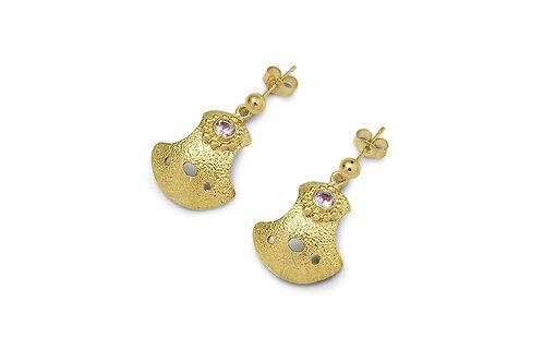 Gold Bent But Not Broken Sapphire Earrings