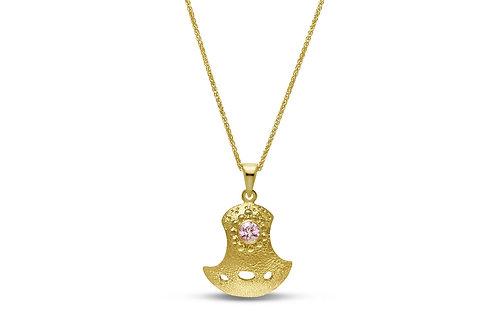 Gold Bent But Not Broken Sapphire Pendant