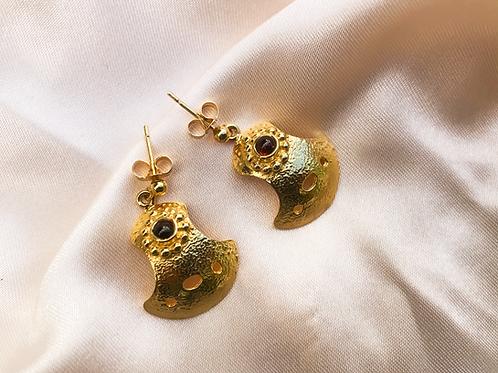 Bent But Not Broken Gold Cabochon Earrings