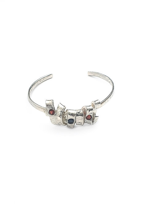Organic Sterling Silver Gemstone Bangle