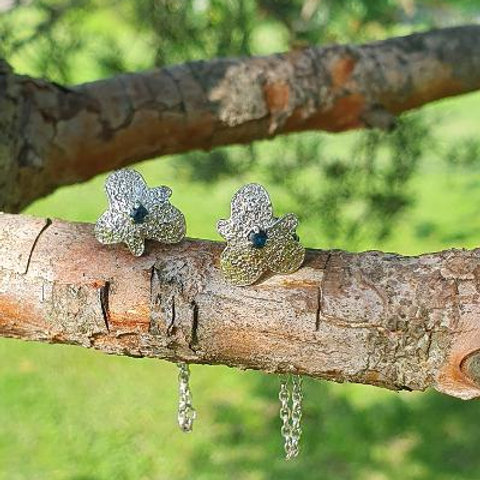 Out of the Ashes Sterling Silver Gemstone Chain Earrings (Iolite)