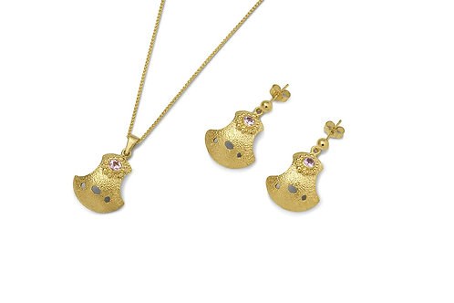 Gold Bent But Not Broken Sapphire Set