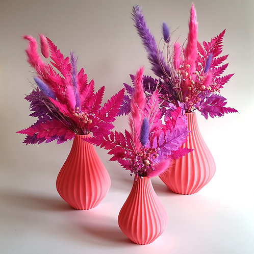 PINK ANNABEL ואזת קיר עם פרחים מיובשים