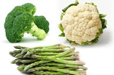 Broccoli, Cauliflower, Asparagus