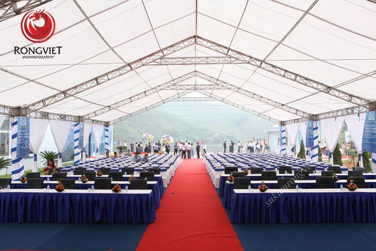 Toàn cảnh khu tổ chức sự kiện sau khi được lắp đặt các thiết bị sự kiện - Công ty sự kiện Rồng Việt