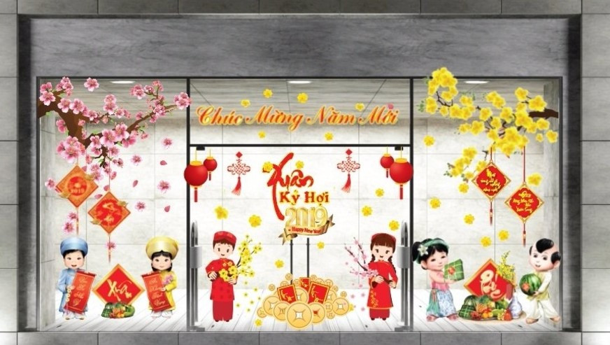 Mẫu trang trí cửa kính bằng decal đón Tết Nguyên đán - Công ty tổ chức sự kiện Rồng Việt