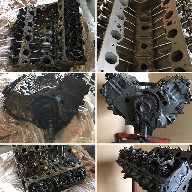 Before and after pictures of a heavy duty grain truck engine