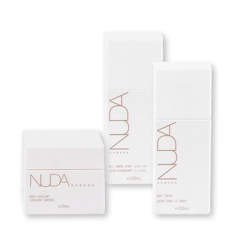 Trio Nuda Exfoliant + Autobronzant et Lotion pour le corps