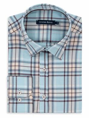 Blue Lyocell Plaid Long Sleeve Shirt