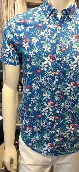Blue Floral Short Sleeve - Penguin