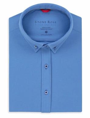Blue Performance Knit Long Sleeve Shirt