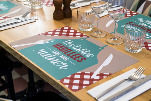 Set de table au restaurant personnalisé indéchirable