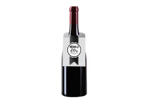 Bouteille de vin avec collerette décoration