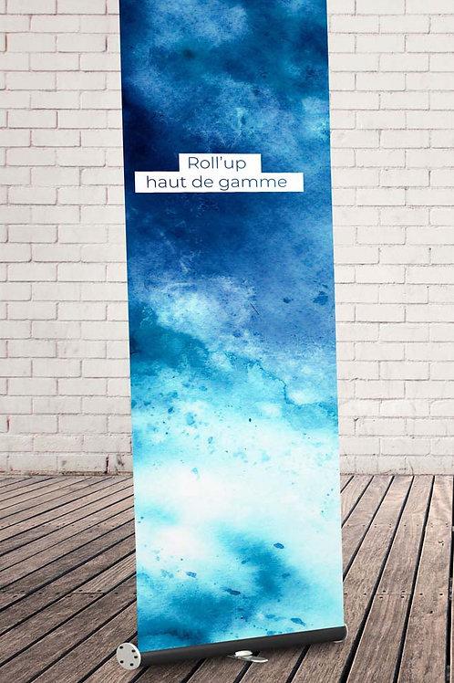Roll'up haut de gamme bleu sur fond en brique