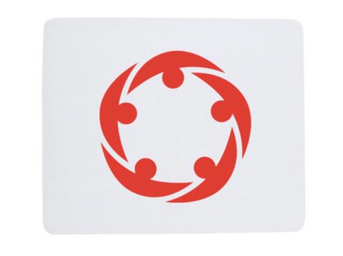 Tapis de souris personnalisé blanc avec logo rouge